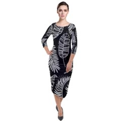 Black And White Tropical Leaves Quarter Sleeve Midi Velour Bodycon Dress by goljakoff