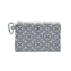 Black White Geometric Background Canvas Cosmetic Bag (small)