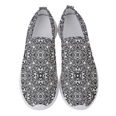 Black White Geometric Background Women s Slip On Sneakers