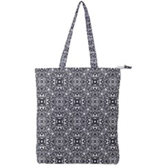 Black White Geometric Background Double Zip Up Tote Bag