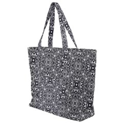 Black White Geometric Background Zip Up Canvas Bag
