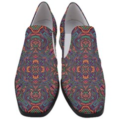 Tile Repeating Colors Texture Slip On Heel Loafers by Pakrebo