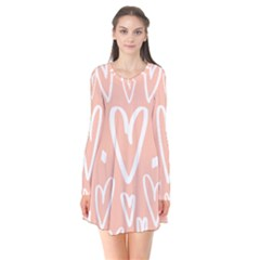 Coral Pattren With White Hearts Long Sleeve V Neck Flare Dress