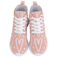 Coral Pattren With White Hearts Women s Lightweight High Top Sneakers