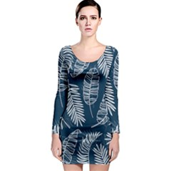 Blue And White Tropical Leaves Long Sleeve Bodycon Dress by goljakoff