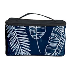 Blue And White Tropical Leaves Cosmetic Storage by goljakoff