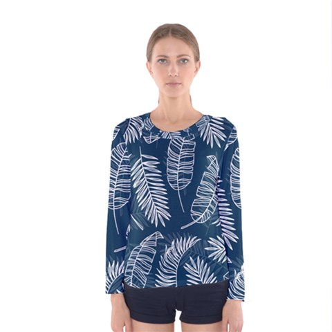 Blue And White Tropical Leaves Women s Long Sleeve Tee by goljakoff
