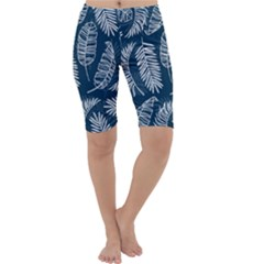 Blue And White Tropical Leaves Cropped Leggings  by goljakoff