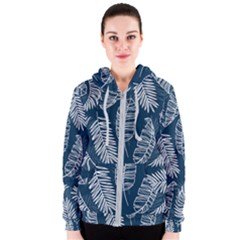 Blue And White Tropical Leaves Women s Zipper Hoodie by goljakoff