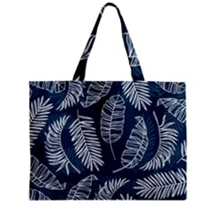 Blue And White Tropical Leaves Zipper Mini Tote Bag by goljakoff