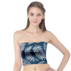 Blue And White Tropical Leaves Tube Top by goljakoff