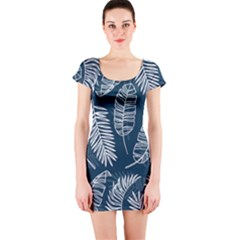 Blue And White Tropical Leaves Short Sleeve Bodycon Dress by goljakoff
