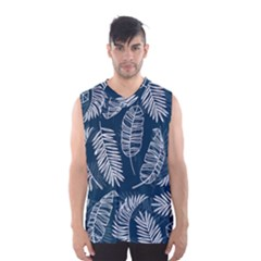 Blue And White Tropical Leaves Men s Basketball Tank Top by goljakoff