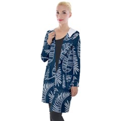 Blue And White Tropical Leaves Hooded Pocket Cardigan by goljakoff