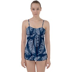Blue And White Tropical Leaves Babydoll Tankini Set by goljakoff