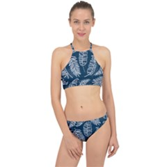 Blue And White Tropical Leaves Racer Front Bikini Set by goljakoff