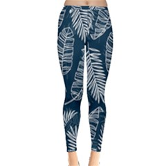 Blue And White Tropical Leaves Inside Out Leggings by goljakoff