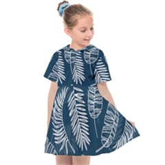 Blue And White Tropical Leaves Kids  Sailor Dress by goljakoff