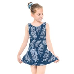 Blue And White Tropical Leaves Kids  Skater Dress Swimsuit by goljakoff