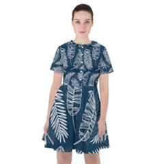 Blue And White Tropical Leaves Sailor Dress by goljakoff