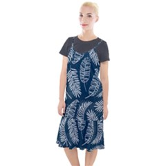 Blue And White Tropical Leaves Camis Fishtail Dress by goljakoff