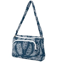 Blue And White Tropical Leaves Front Pocket Crossbody Bag by goljakoff