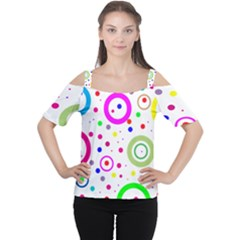 Round Abstract Design Cutout Shoulder Tee