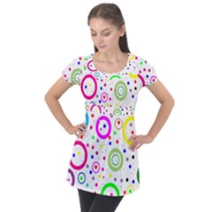 Round Abstract Design Puff Sleeve Tunic Top by Pakrebo