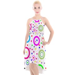 Round Abstract Design High Low Halter Chiffon Dress