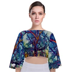 Tree Colorful Nature Landscape Tie Back Butterfly Sleeve Chiffon Top