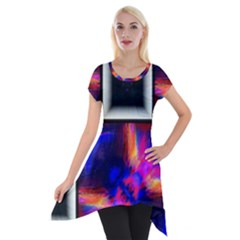 Box Abstract Frame Square Short Sleeve Side Drop Tunic
