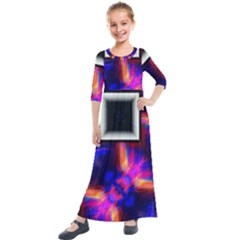 Box Abstract Frame Square Kids  Quarter Sleeve Maxi Dress