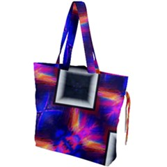 Box Abstract Frame Square Drawstring Tote Bag