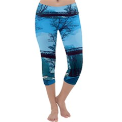Bridge Trees Walking Nature Road Capri Yoga Leggings