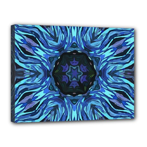 Background Blue Flower Canvas 16  X 12  (stretched)