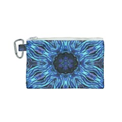 Background Blue Flower Canvas Cosmetic Bag (small) by Pakrebo