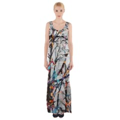 Forest Abstract Artwork Colorful Maxi Thigh Split Dress