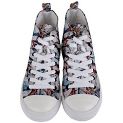 Forest Abstract Artwork Colorful Women s Mid Top Canvas Sneakers