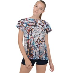 Forest Abstract Artwork Colorful Ruffle Collar Chiffon Blouse