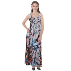 Forest Abstract Artwork Colorful Sleeveless Velour Maxi Dress