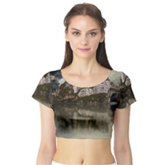 Sea Fortress Lake Reflection Sky Short Sleeve Crop Top