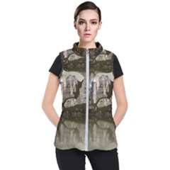 Sea Fortress Lake Reflection Sky Women s Puffer Vest