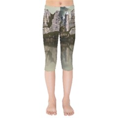 Sea Fortress Lake Reflection Sky Kids  Capri Leggings