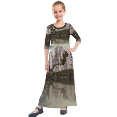 Sea Fortress Lake Reflection Sky Kids  Quarter Sleeve Maxi Dress by Pakrebo