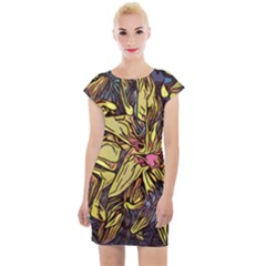 Lilies Abstract Flowers Nature Cap Sleeve Bodycon Dress by Pakrebo
