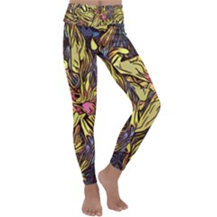 Lilies Abstract Flowers Nature Kids  Lightweight Velour Classic Yoga Leggings by Pakrebo