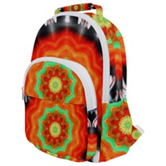 Abstract Kaleidoscope Colored Rounded Multi Pocket Backpack