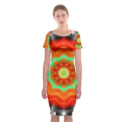 Abstract Kaleidoscope Colored Classic Short Sleeve Midi Dress