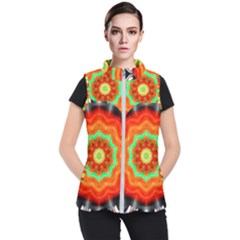 Abstract Kaleidoscope Colored Women s Puffer Vest by Pakrebo