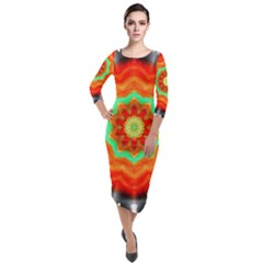 Abstract Kaleidoscope Colored Quarter Sleeve Midi Velour Bodycon Dress